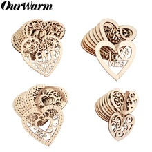 OurWarm 10Pcs Wood Weddings Embellishment Laser Cut Love Heart Hanging Ornament Mr Mrs Rustic Wedding Decoration