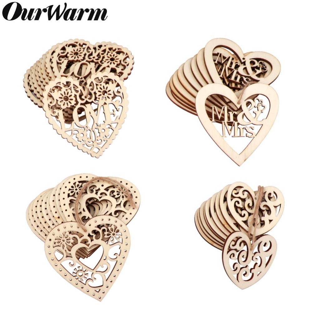 OurWarm Wood Weddings Embellishment Laser Cut Love Heart Hanging Ornament Wooden Ring Box  Mr Mrs Rustic Wedding Decoration