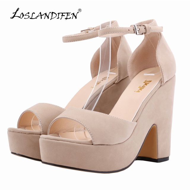 LOSLANDIFEN Sexy High Heels Platform Women's Shoe