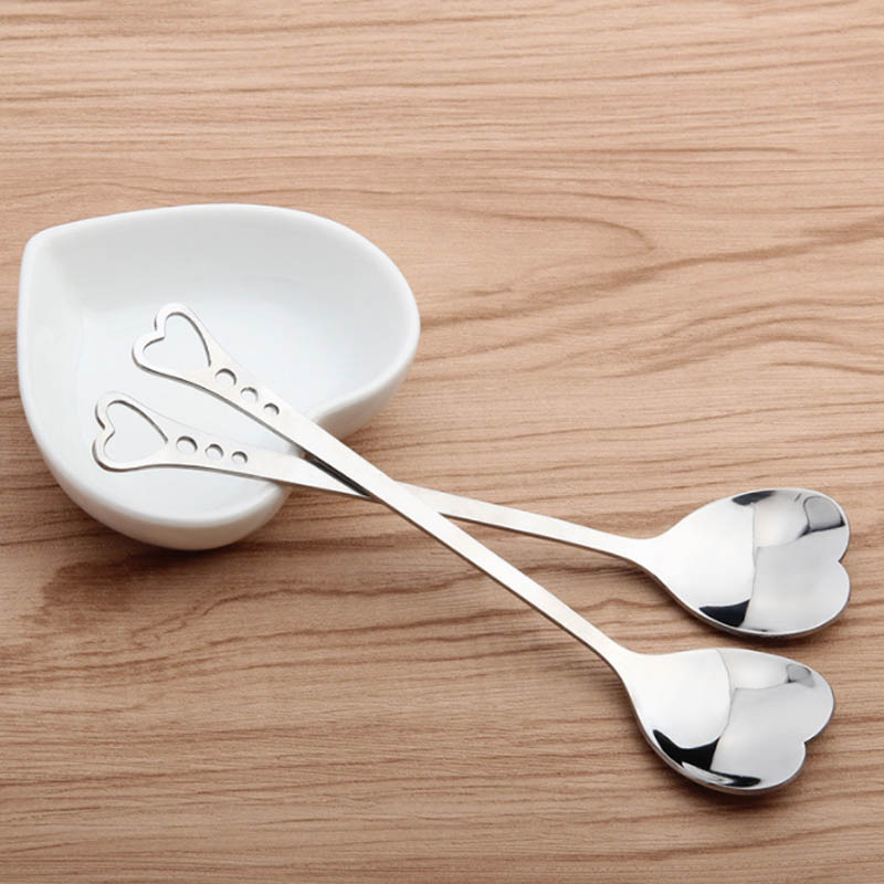 1Pcs Stainless Steel Heart Shape Coffee Spoons Dessert Sugar Stirring Teaspoon Dinnerware Kitchen Accessorie