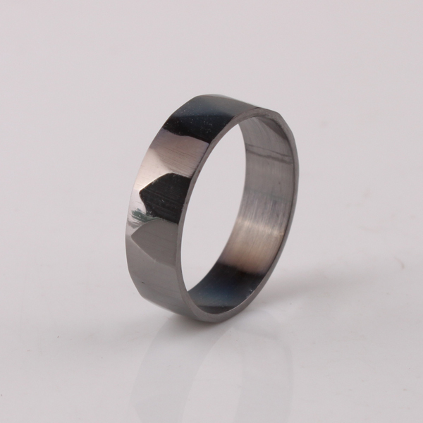 free shipping wide 6mm black section rings 316L Stainless Steel finger ring men jewelry wholesale