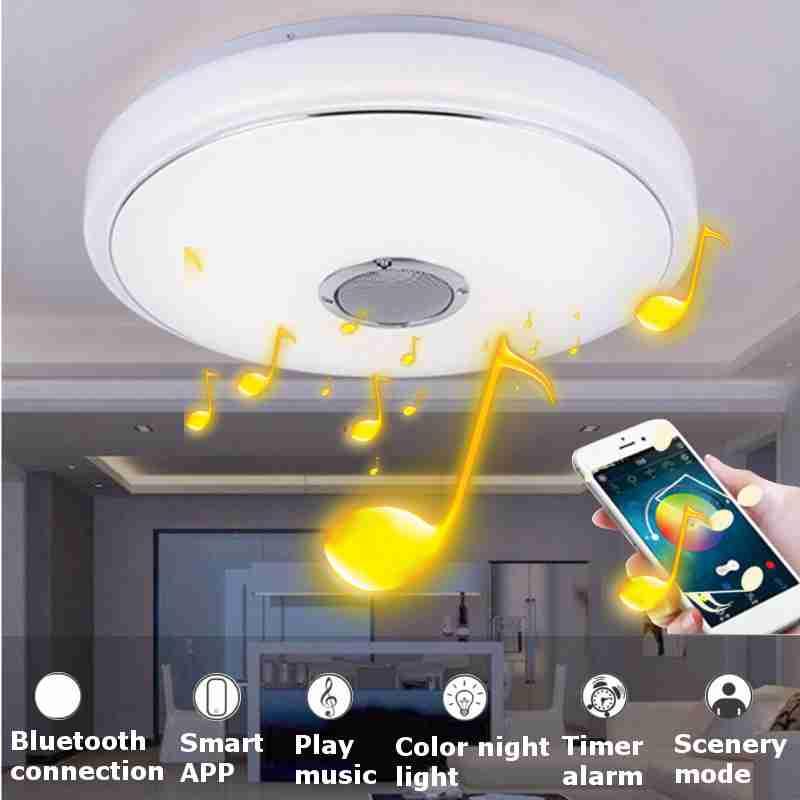 Smuxi RGB 48W Bluetooth LED Music Speaker Flush Mount Ceiling Light Fixture LED Room Ceiling Lamp rigid industries 93432 srq2 amber driving led light flush mount
