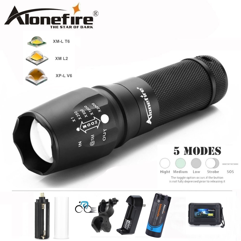 AloneFire Spotlight Flashlight Cree X800 XM-L T6 L2 U3 LED bicycle Zoom Travel Lantern bike Torch AAA 18650 26650 Li-ion Battery
