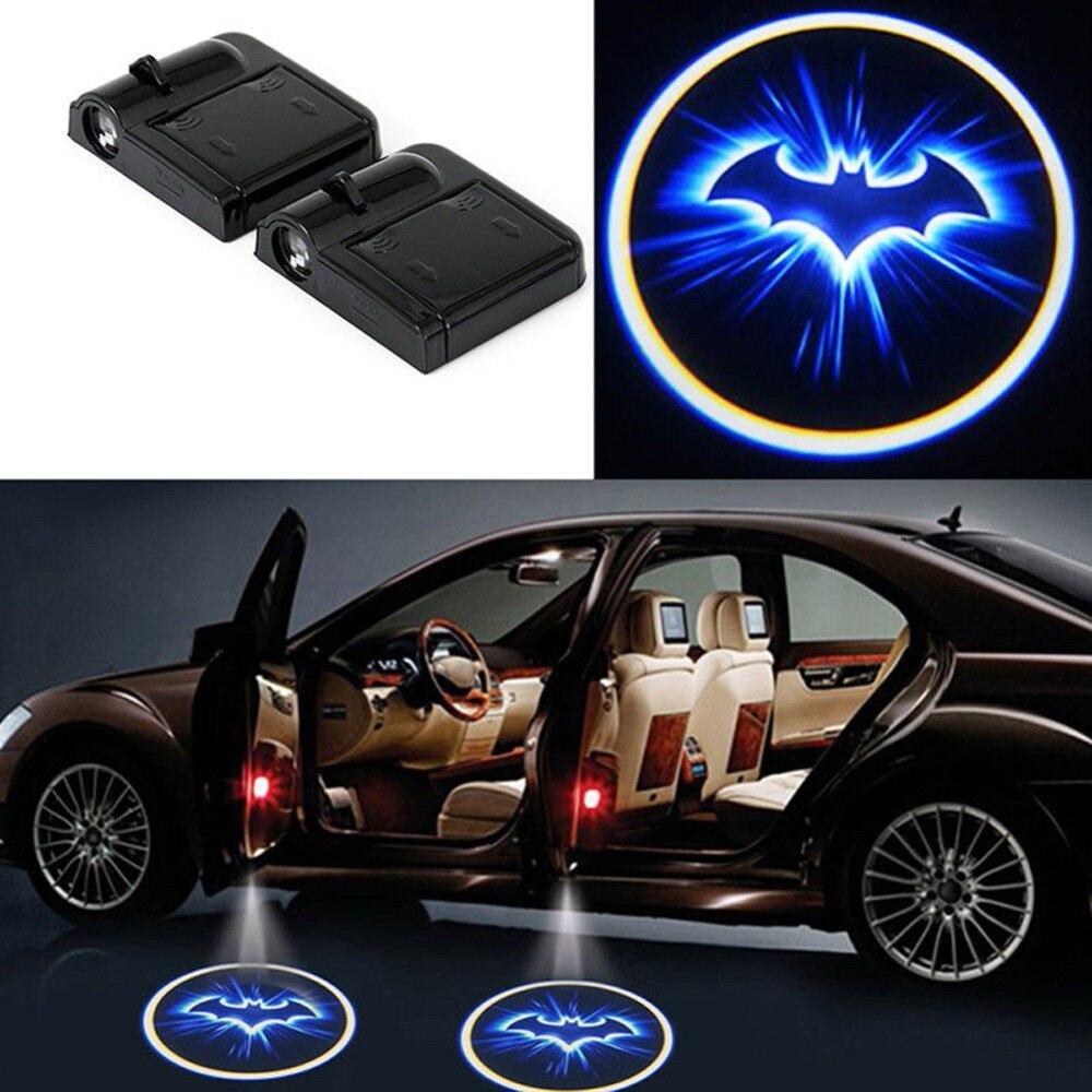 2x LED Auto-tür-willkommens-licht Laserlicht Autotür Schatten Führte Projektor Logo Batman Drahtlose Universal Auto Willkommen Tür Auto-styling