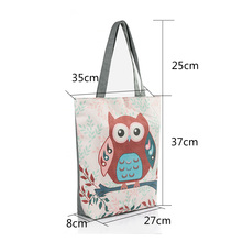 Floral And Owl Printed Canvas Tote Female Casual Beach Bags Large Capacity Women Single Shopping Bag Daily Use Canvas Handbags