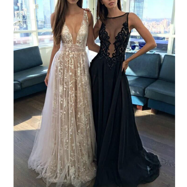 Luxury Sexy Women vestido White Perspective Lace V-neck Sequin Floor-Length Maxi Dress Open back Long Dress Women Party Dress