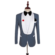 new fashion high quality mens Plaid suits casual business groom wedding dress  3-piece set
