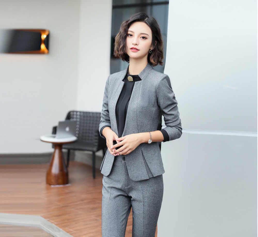 89969fcd0f9 Модный осенний женский Блейзер женская одежда формальный повседневный  черный серый синий офисная верхняя одежда элегантный женский