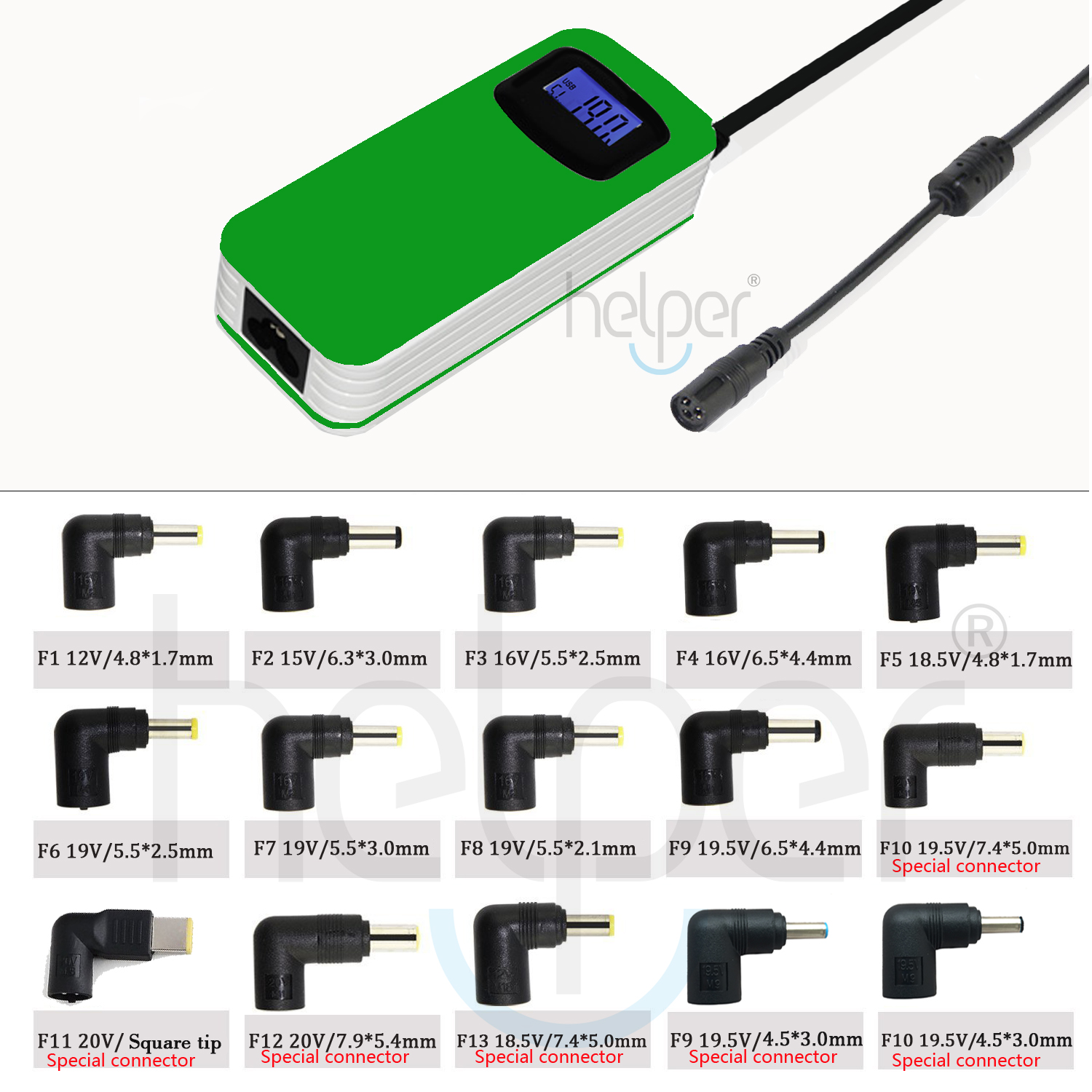 LCD Third Generation Smart Multifunctional Universal Power Supply Home Laptop Adapter 90W 15connector tips with USB