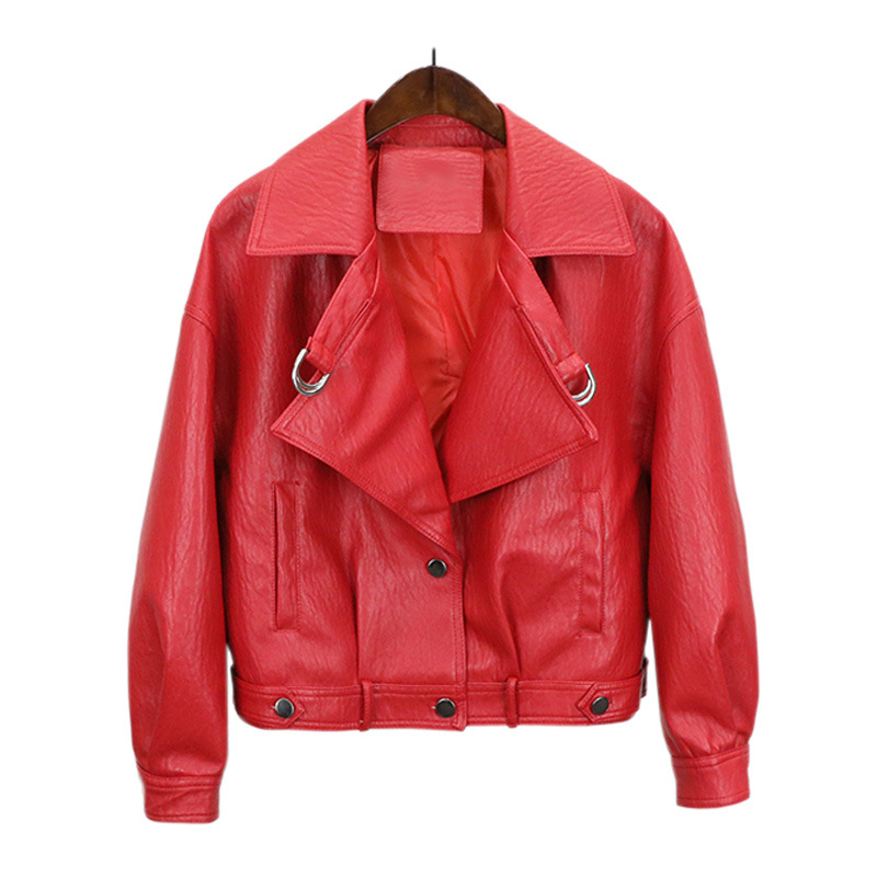 Female New Design Autumn PU   Leather   Loose Jacket Faux   Leather   Coat Rivet Casual Motorcycle Jackets & Outerwear Red Beige Black