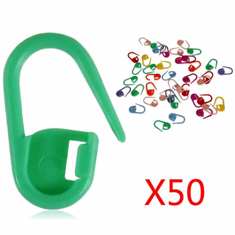 50pcs Craft Plastic Markers Holder Needle Clip Mix Mini Knitting Crochet Locking Stitch Sewing Needle