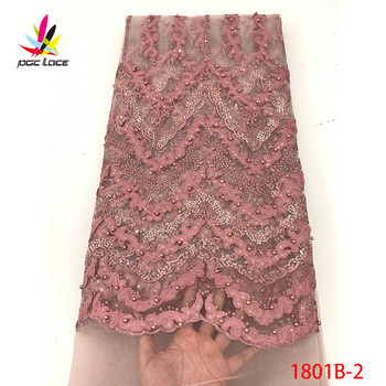2019 High Quality French Tulle Beaded African Lace Fabric Sequins Embroidered Nigerian Lace Fabrics For Wowen Dress XZ1801B-2