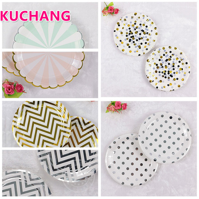 kuchang 10pcs Gilding High-end Disposable Tableware Set  Striped Dot Paper Plates Party Wedding Baby Shower Tableware Supplies