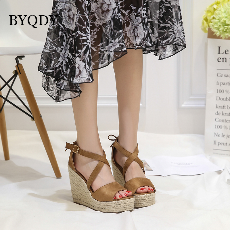 BYQDY 2018 Fashion Summer Wedges High Heels Sandals Women Shoes Summer Buckle Ankle Strap Platform Shoes Woman Promotion Sale xiaying smile woman sandals shoes women pumps summer casual platform wedges heels sennit buckle strap rubber sole women shoes