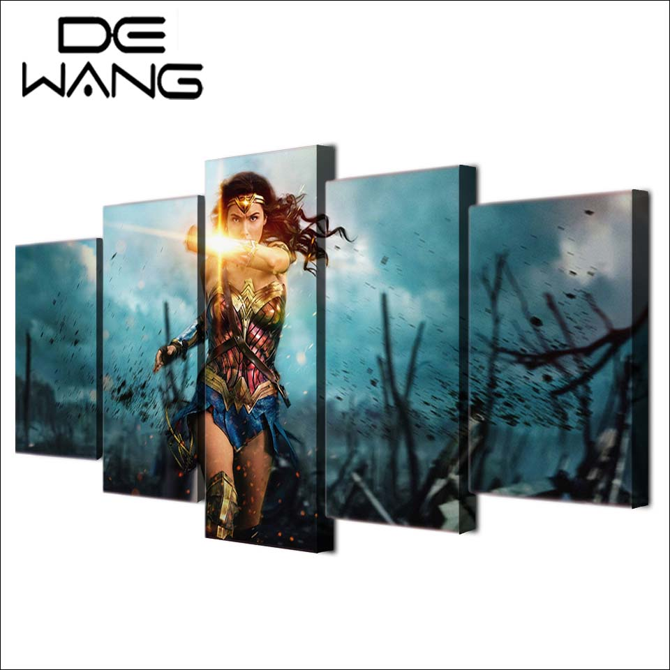 5 Piece Canvas Painting Wonder Woman Printings Painting Picture Movie Poster Print Living Room Magic Pictures Home Wall Decor