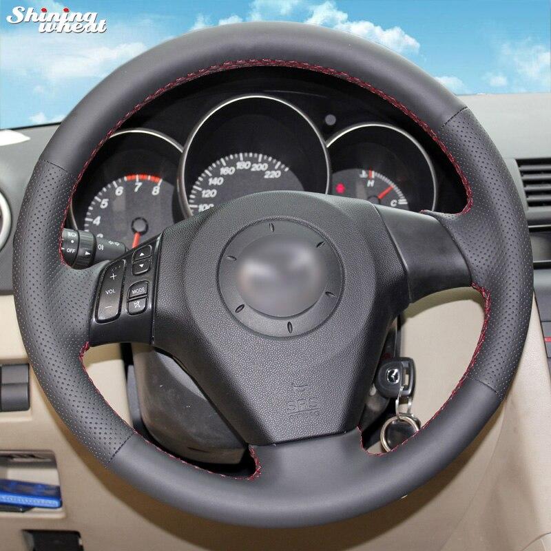 LUOERPI Cubierta del Volante de Fibra de Carbono roja PU de Cuero Negro Cosida a Mano para Mazda 3 CX-5 2017 CX-9 2016 2017