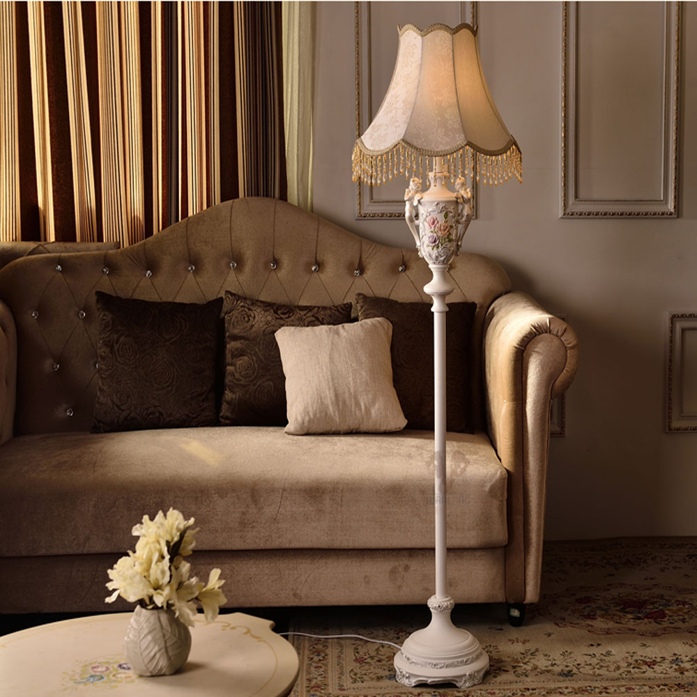 Resin American Country Style Fabric Lampshade Led Floor Lamp E27 110V-220V Modern Floor Lamps for Living Room Floor Lights bedroom floor lights crystal floor lamps wedding decoration sitting room lighting modern floor lamps for living room lamp modern