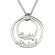 Personalized Disc Name Necklace Sterling Silver Mothers Necklace Family Names Layered 2 Disc Name Pendant Couples Necklace