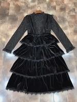 2017 Fashion New Women S Bottom Jacket Lace Velvet Suspenders Two Piece Dress 101