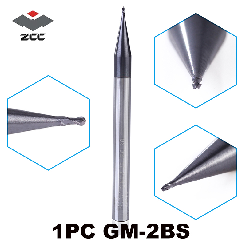 1pc GM-2BS R0.15-R1.5 Solid Carbide Precision 2 Flute Micro Size Ball Nose End Mill Straight Shank 50HRC End Milling Cutters