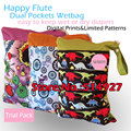 Happy Flute Dual Pockets Wetbag, Diaper Bag, Dual Zippers with Handle