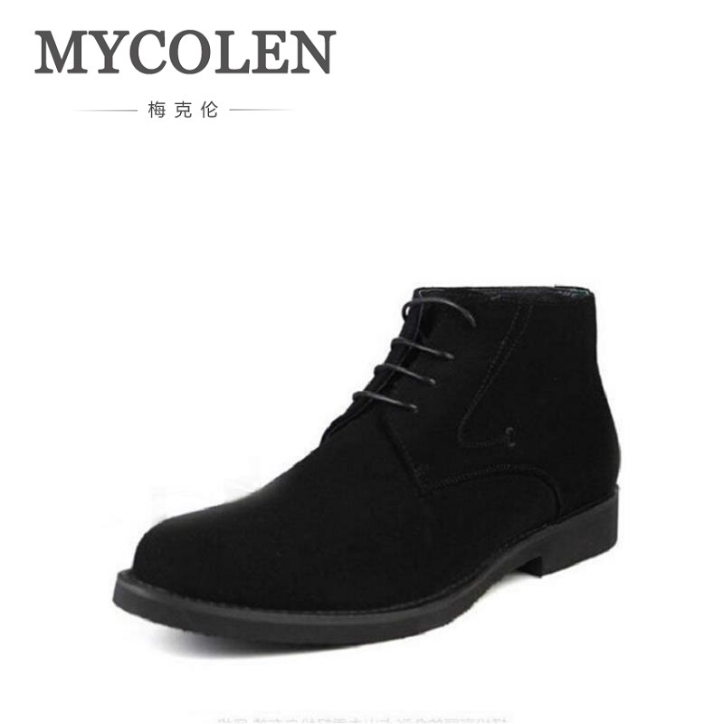 MYCOLEN Brand Newest Winter Boots High Quality Genuine Leather Casual Men Shoes Business Brown Suede Leather Men Boots Black