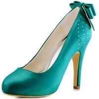 Ep11034-ip Чирок Неф Синий Для женщин подружек невесты Вечеринка высокое Высокая платформа Насосы Стразы атласная Свадебная обувь
