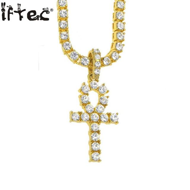 Ankh Necklace Egyptian Jewelry Gold Color Alloy Pendant Tennis Chain