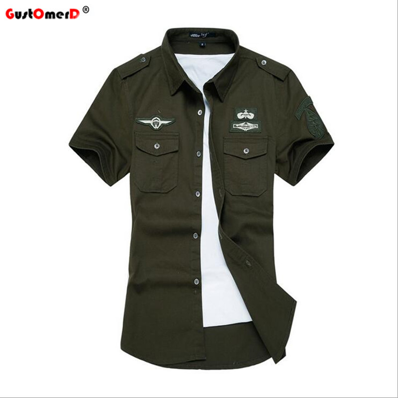 GustOmerD 2017 New Summer Military Short Sleeve Casual Shirt Men Slim Fit 100% Cotton High Quality Male Shirt Army Men Shirt