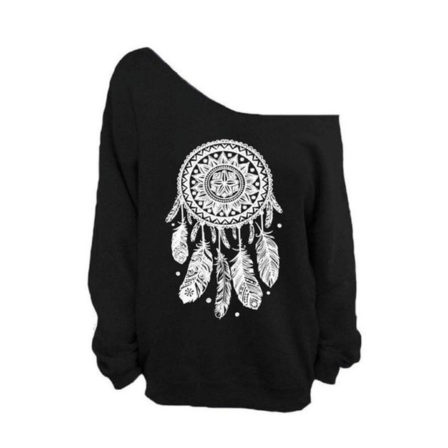 14e4dbdbdc1a 2018 Women Sweatshirt Sexy Casual 3D Dream Catcher Printed Off Shoulder Long  Sleeved Pullovers Loose Black Hoodie Sudadera Mujer