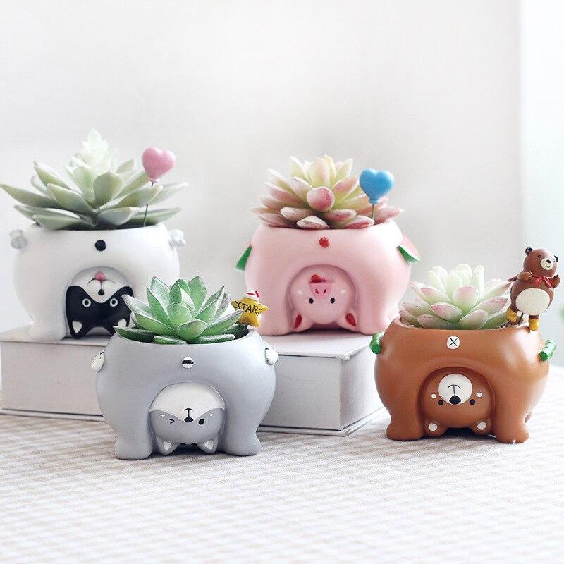 4 pièces/ensemble nouveau à l'envers animaux résine jardinières succulentes Kawaii Mini Pots de fleurs bureau bonsaï maison jardin décoration R988