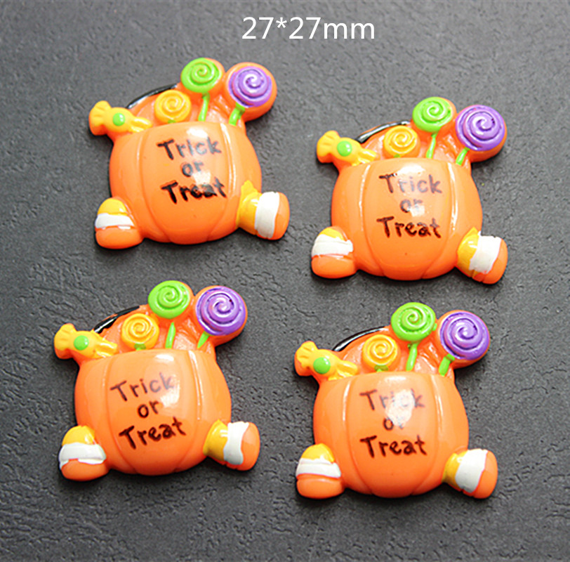 10pcs 27mm cute halloween pumpkin candy basket resin cabochons flatback crafts for diy scrapbooking - Cheap Halloween Crafts