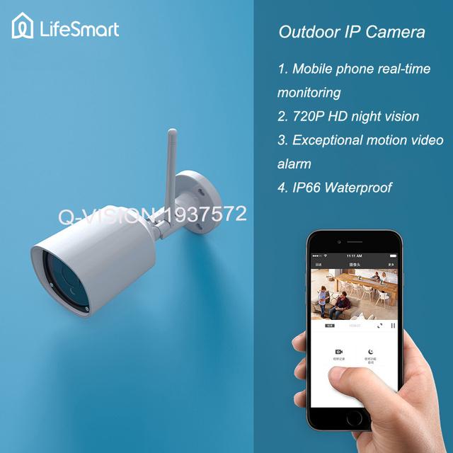 Lifesmart inteligente al aire libre impermeable del ip del ir cctv cámara de la bala 720 p wifi control remoto inalámbrico para alarma de seguridad de la visión nocturna
