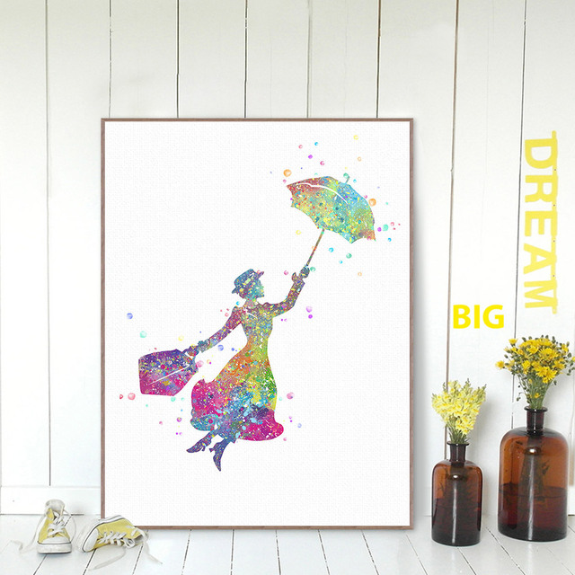 Watercolor Mary Poppins Poster Pop Fantasy Movie Flying Wall Picture Canvas Kids Room Deco Painting No Frame