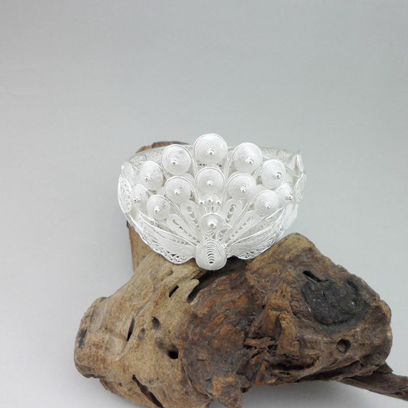 Grand paon bracelets femmes 999 argent Sterling fait à la main Boho bijoux main chinois ethnique Vintage luxe épais Bracelet en argent