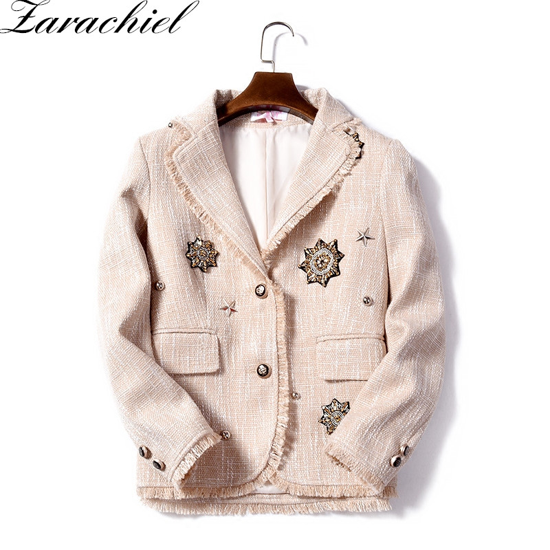 Zarachiel Runway 2019 Winter Women Retro Beaded Diamonds Star Tassels Fringed Tweed Jacket Coat Long Sleeve