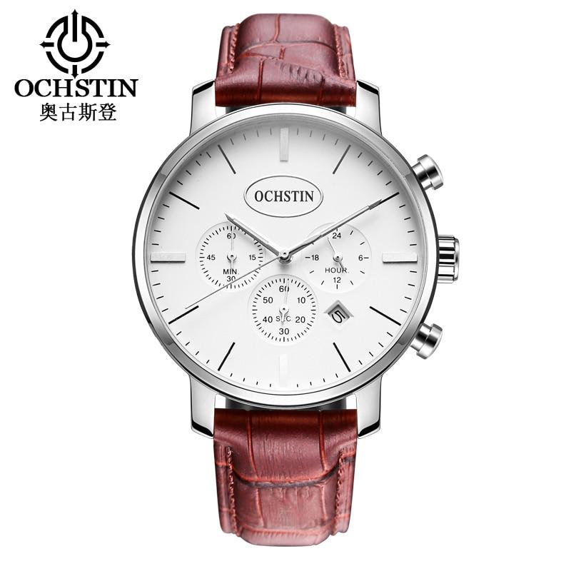 2017 OCHSTIN Moda Hombres Relojes Cronógrafo Función Hombres Negocios Relojes de pulsera de cuarzo resistente al agua Relogio masculino