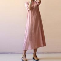 2018 celmia для женщин летнее платье изделие из хлопка с короткими рукавами лен мешковатые платье винтаж кафтан мешковатые свободные длинные сарафан плюс размеры от S до 5XL