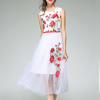 Вышивка Сетчатое платье для Для женщин цветочный платье без рукавов женский топ на бретельках высокие женские элегантные Костюмы розовое Б