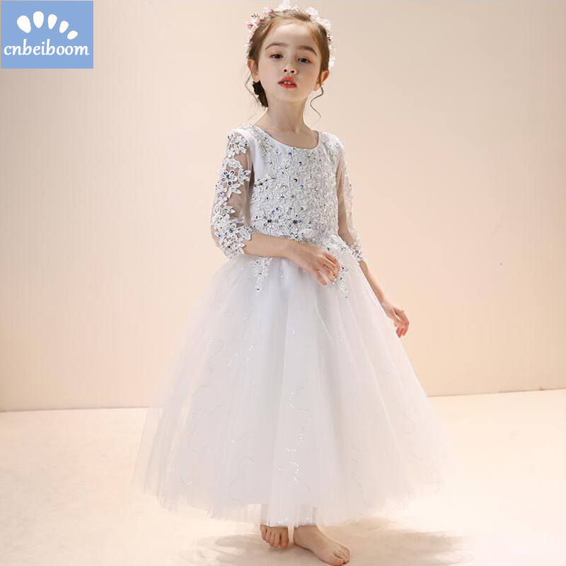 2018 New Hot White Ball Gown Appliques Flower Girl Dresses First Communion Dresses For Princess Girls Party Wedding vestidos new hot pretty ivory or white appliques tulle beads sash flower girl dresses with train white girls first communion dresses