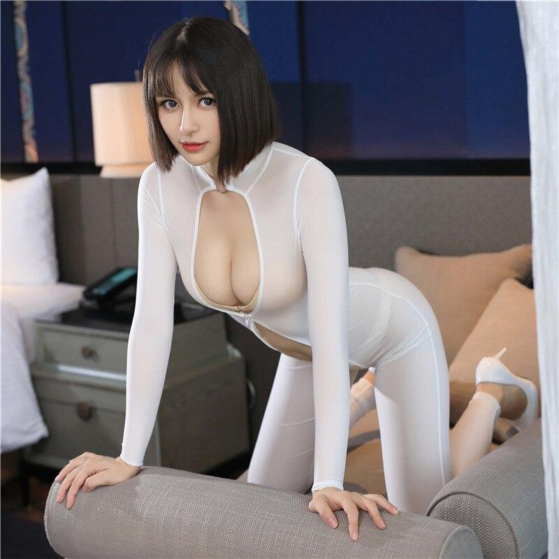 Women Super Thin Hollow Out Chest Bodysuit Hight Elastic Full-body Invisible Zipper Bodysuit Sexy Throught Long Zipper Bodysuits