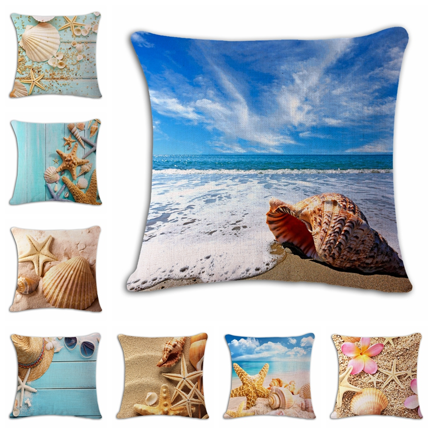 45 45cm Throw Pillow Covers Cotton Linen Sea Marine Style Beach Decorative Cushion Cover Pionate Print Sofa Car Case In From Home