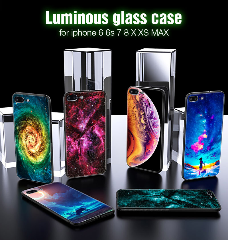 TOMKAS Luminous Starry Luxury Case for iPhone X Xs Max Xr Glass Phone Cover Christmas Silicone Case for iPhone 7 8 6 S 6s Plus (32)