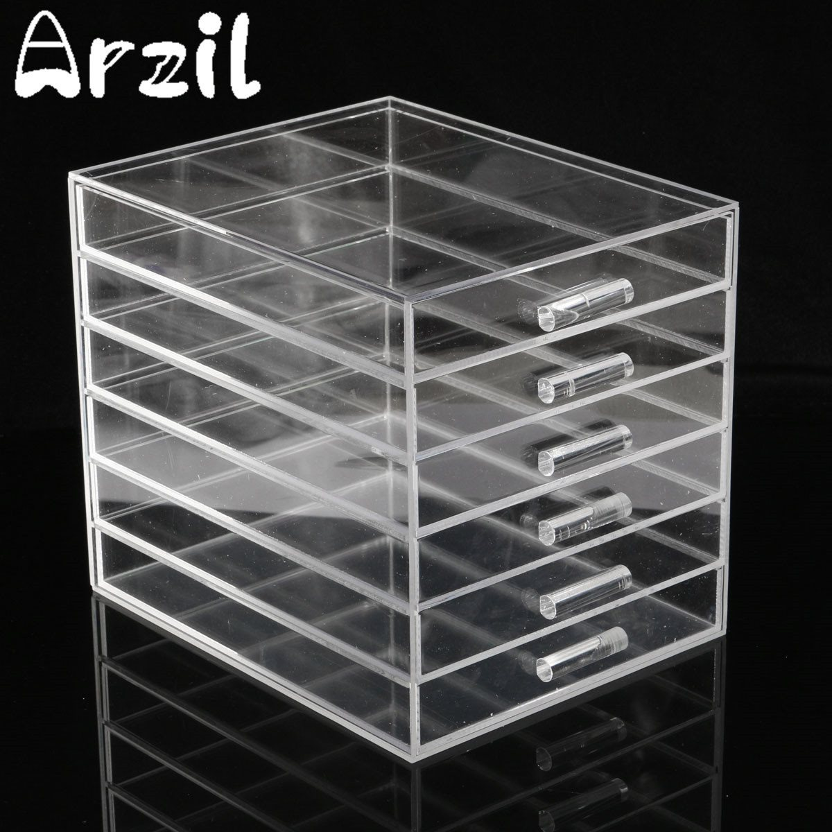 6 Drawers Clear Acrylic Storage Case Box Cosmetic Makeup Jewelry Organizer Holder Household Tools Accessories