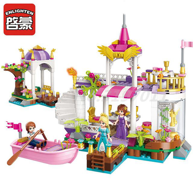 Enlighten 2607 Building Block Girls Friends Princess Leah Lakeside Party 3 Figures 358pcs Bricks Toy For Girl Christmas Gifts enlighten building block war of glory castle knights ent witchclaw 3 figures 131pcs educational bricks toy boy gift