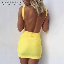 2017 Magro Curto Sexy Backless Summer Beach Mini Vestido Lápis Bandage Clube Vestidos de Festa Vestido Bodycon Casual Vestidos