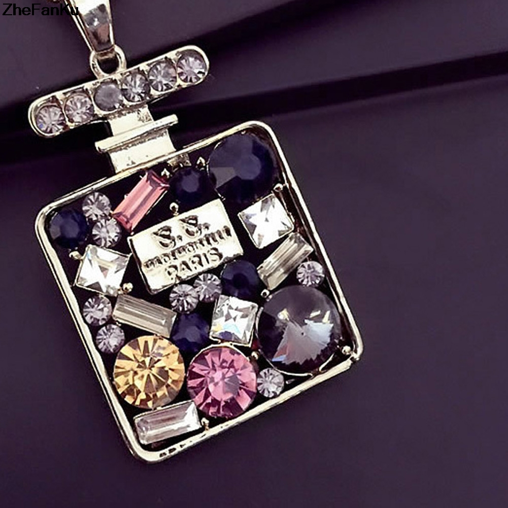 New Design Colorful Rhinestone Long Necklace Pendant Perfume Bottle Necklace For Women Exquisite Jewelry Sweater chain