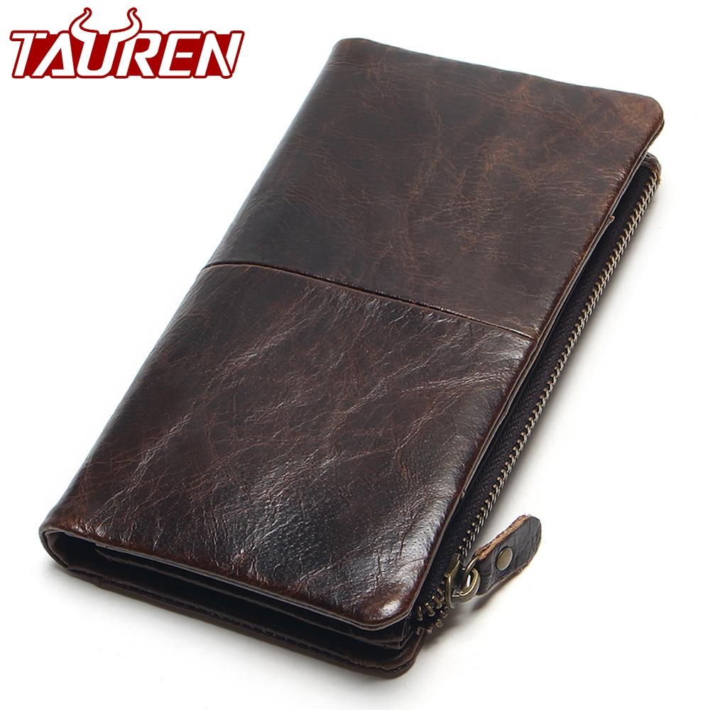 цена The 2018 New First Layer Of Real Leather Men's Oil Wax Retro High-Capacity Multi-Card Bit Long Wallet Clutch Men Genuine