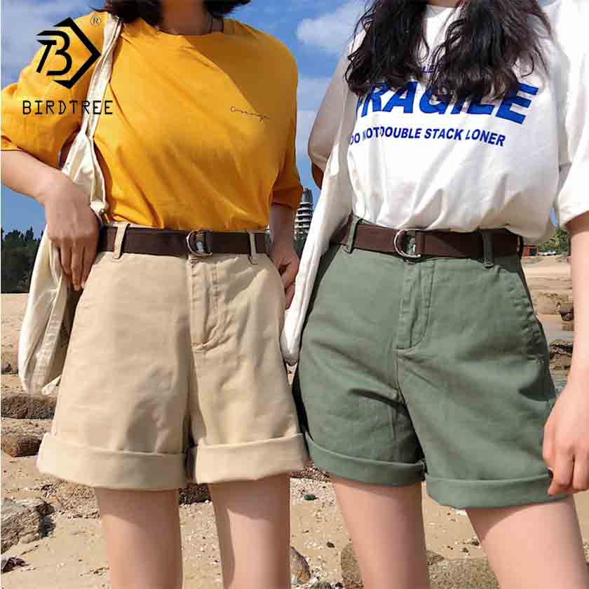 2019 New Arrival Women's Solid High Waist Half Length Shorts With Belt Female Loose Wide Leg Fashion Casual Bottom Hot B93306X
