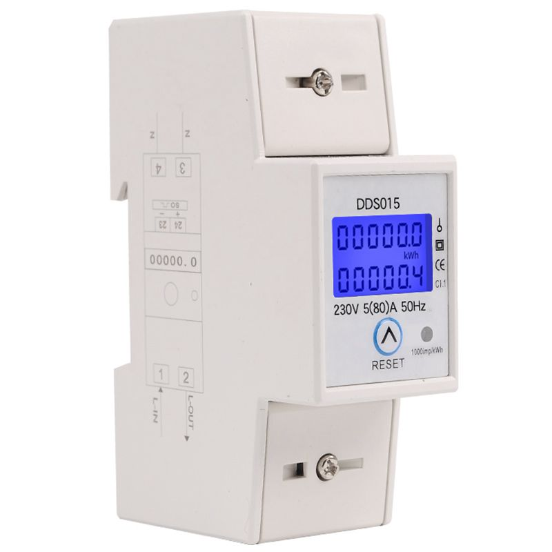 New Din Rail Single Phase Wattmeter Power Consumption Watt Electronic Energy Meter kWh 5-80A 230V AC 50Hz with Reset FunctionNew Din Rail Single Phase Wattmeter Power Consumption Watt Electronic Energy Meter kWh 5-80A 230V AC 50Hz with Reset Function